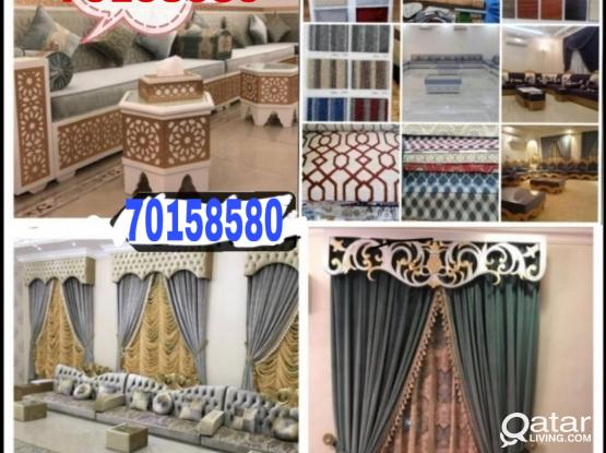 We do all types sofa making repairing wallpaper sell and fix curtains making fixing with carpet sell call me-70158580