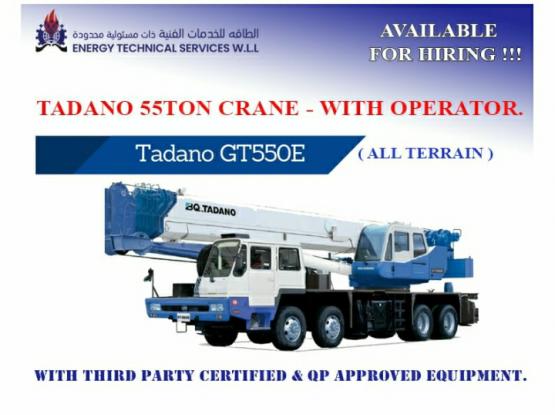 Tadano 55 Ton Crane with Operator.