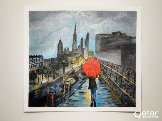 Girl with red umbrella acrylic painting
