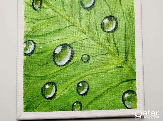 Waterdrops on a leaf :acrylic painting