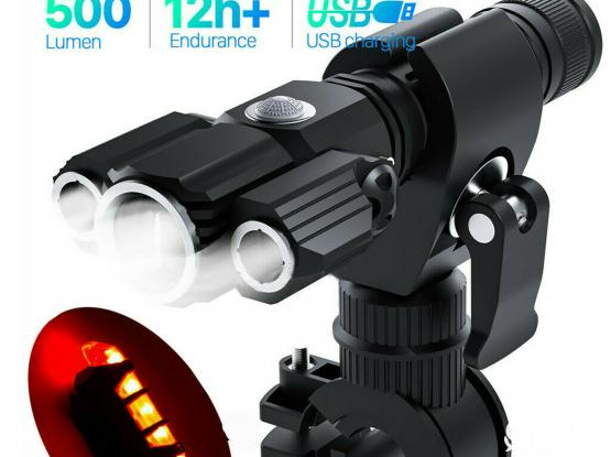 USB Rechargeable Bike Front Headlight &Tail Light Set