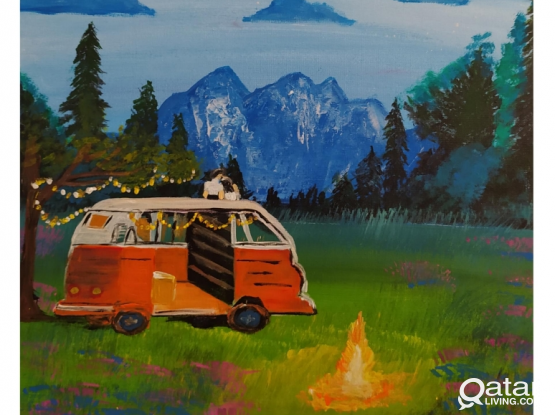 Travel couple Painting