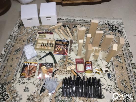 Carving tools and wood and books