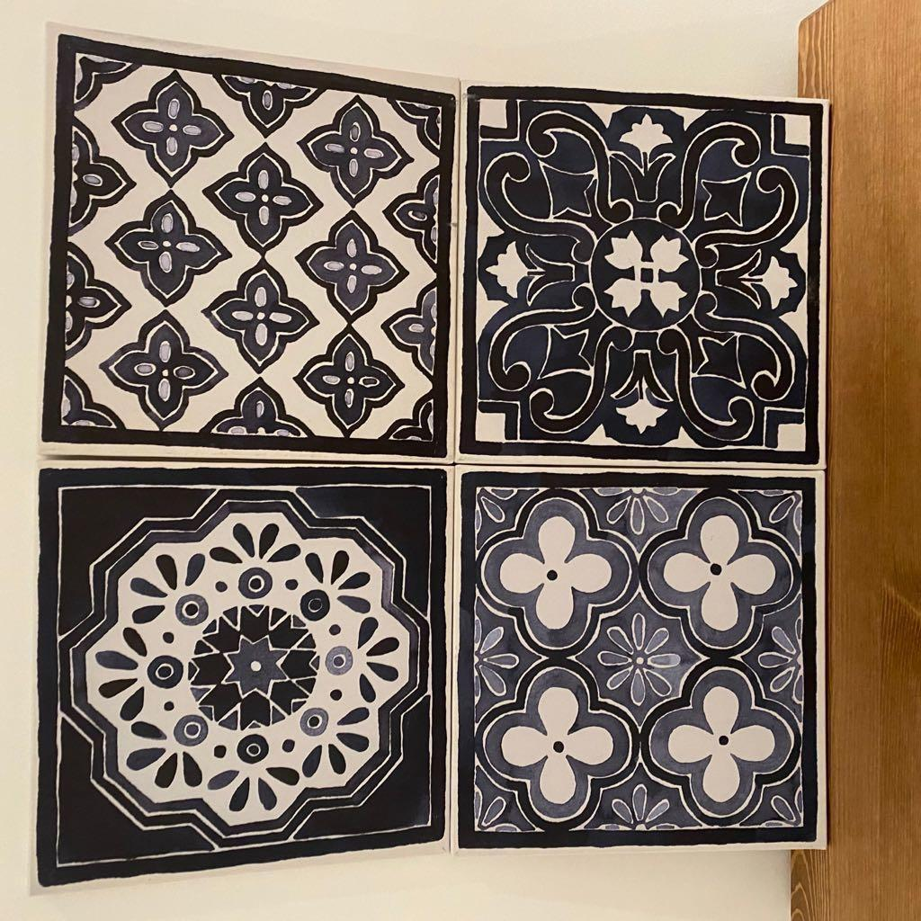 IKEA PJATTERYD Picture, blue patterns 4 pieces